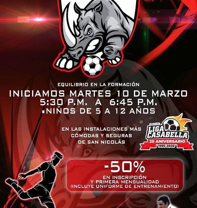 Escuela de Futbol Rhinos llega a Casa Bella